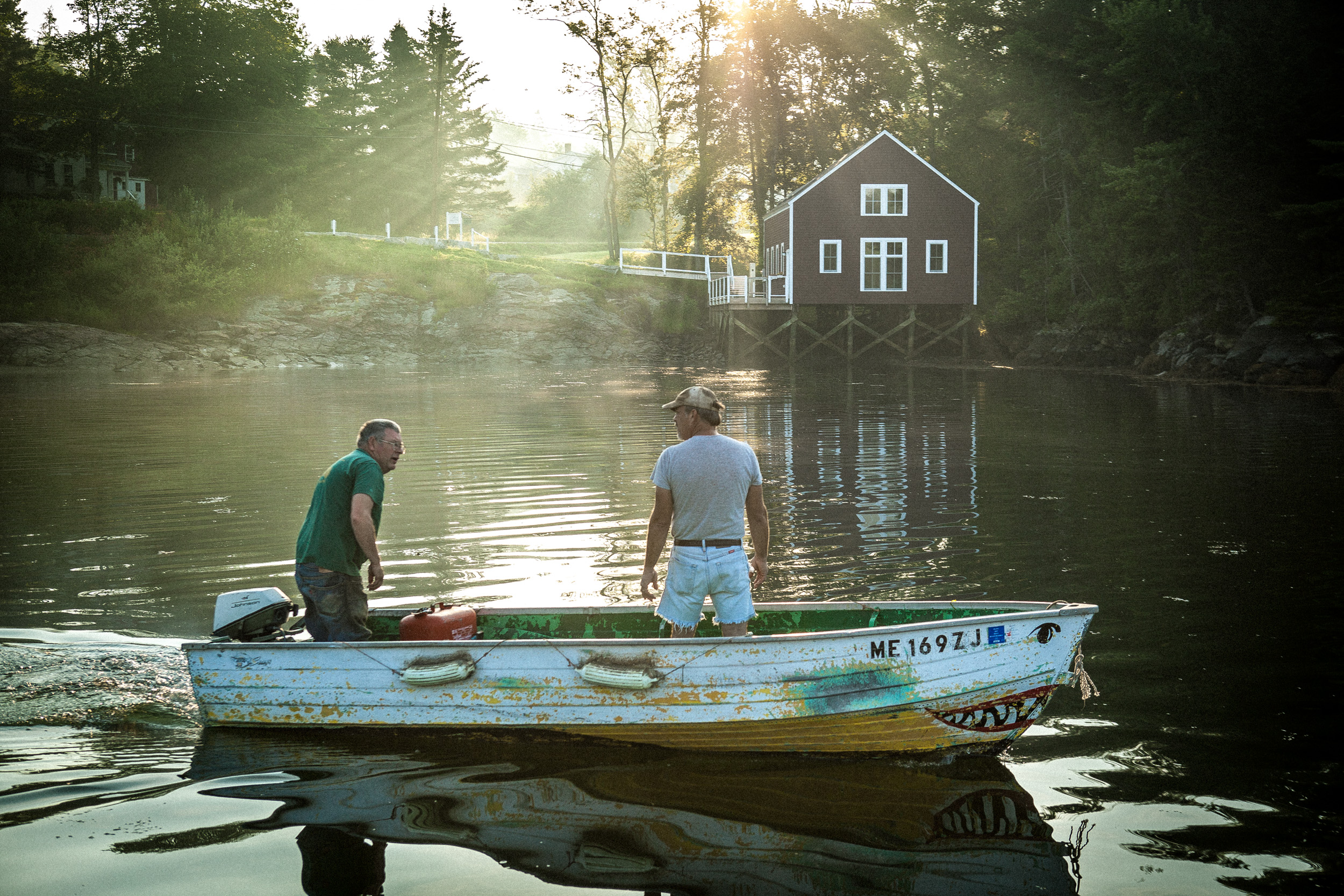 Men on boat in Maine, shot by Steven P. Widoff