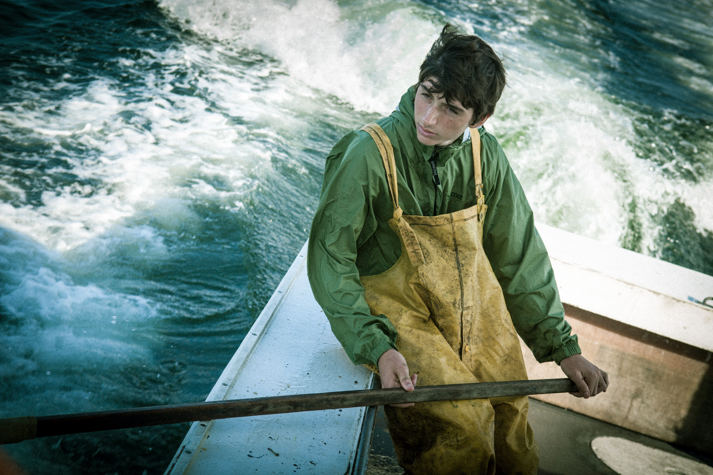 Boy on lobster boat, shot by Steven P. Widoff