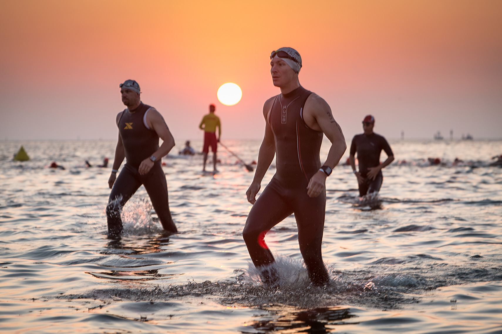 triathletes in Florida waters, shot by Steven P. Widoff, editorial, lifestyle and advertising commercial photographer in Tampa, Florida.